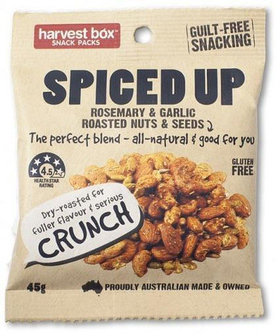 Harvest Box Spiced Up Nuts (Rosemary & Garlic Roasted Nuts & Seeds) G/F 45g-Health Tree Australia