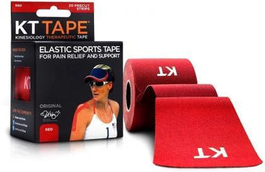 "KT Tape Cotton 20 Precut 10"" Strips Red-Health Tree Australia"