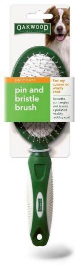 Oakwood Daily Care Pin And Bristle Brush for Coarse or Wooly Coat 1Pack-Health Tree Australia