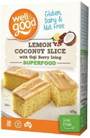 Well And Good Lemon Coconut Slice with Goji Berry Icing G/F 475g-Health Tree Australia