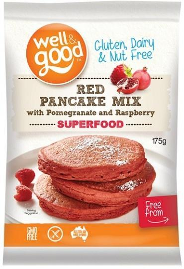 Well And Good Red Pancake Mix with Pomegranate & Raspberry G/F 175g-Health Tree Australia