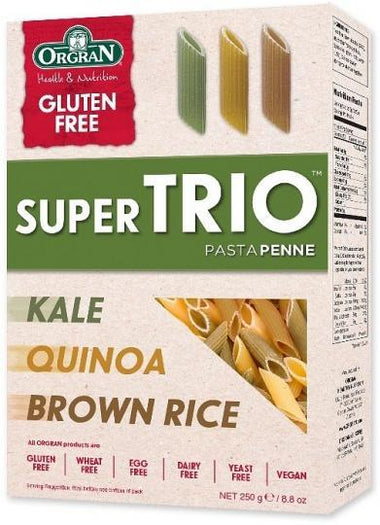 Orgran Super Trio Brown Rice, Quinoa & Kale Penne Pasta 250g-Health Tree Australia