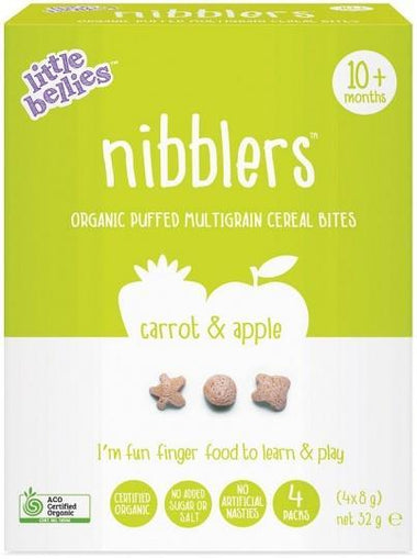 Little Bellies Organic Nibblers Carrot & Apple Multigrain Cereal Bites (10+ months) 32g-Health Tree Australia