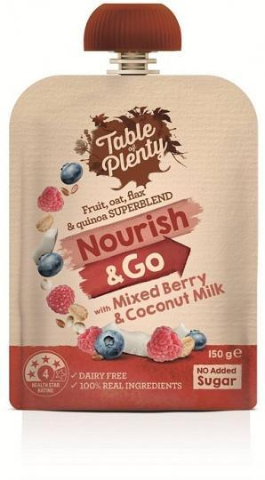Table of Plenty Nourish & Go Mixed Berry & Coconut Milk 150g-Health Tree Australia