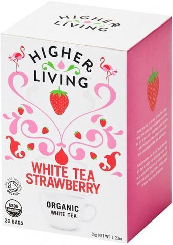 Higher Living Organic White Tea Strawberry 15Teabags-Health Tree Australia