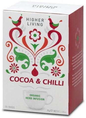 Higher Living Organic Cocoa & Chilli Tea 15Teabags-Health Tree Australia
