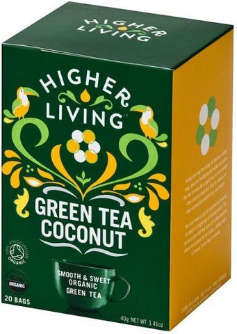 HomeDrinksTeasHigher Living Organic Green Tea Coconut 20Teabags-Health Tree Australia