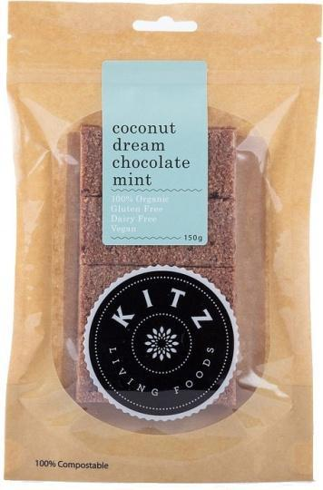 Kitz Living Foods Organic Coconut Dream Chocolate Mint G/F 150g-Health Tree Australia