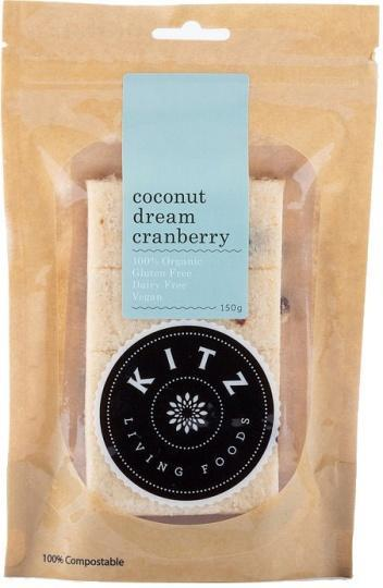 Kitz Living Foods Organic Coconut Dream Cranberry G/F 150g-Health Tree Australia