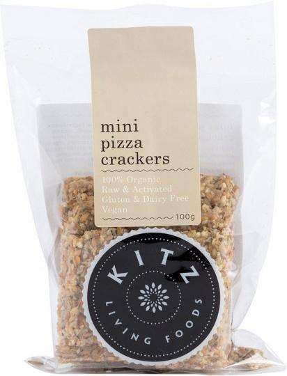 Kitz Living Foods Organic Mini Pizza Crackers G/F 100g-Health Tree Australia