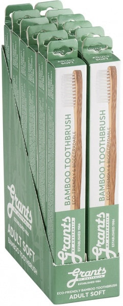 Grants Bamboo Toothbrush Adult Soft Display x12