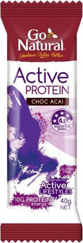 Go Natural Active Protein Choc Acai 16x40g AUG18