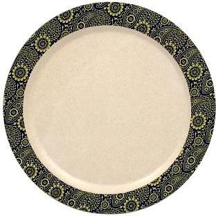 EcoSouLife Bamboo (D22.5 x H1.8cm) Print Paisley Large Dinner Plate-Health Tree Australia