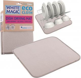 White Magic Eco Cloth Dish Drying Mat Pebble - 40x45cm-Health Tree Australia