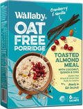 Wallaby Oat Free Porridge Cranberry & Vanilla G/F 6x40g Sachets New