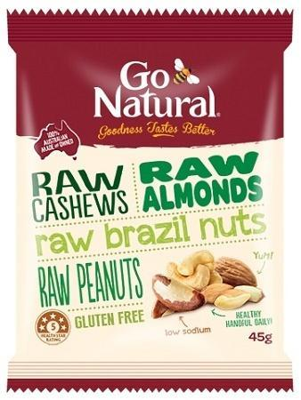 Go Natural RAW Nut Snack Pack 12x45g-Health Tree Australia