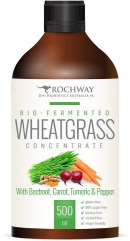 Rochway Bio-Fermented Wheatgrass Concentrate with Beetroot,Carrot,Turmeric & Pepper G/F 500mL-Health Tree Australia