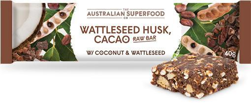 The Australian Superfood Co Wattleseed Husk, Cacao Raw Bar G/F 12x40g-Health Tree Australia