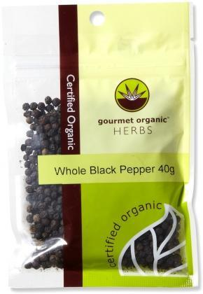 Gourmet Organic Pepper Black Whole 40g Sachet x 1-Health Tree Australia