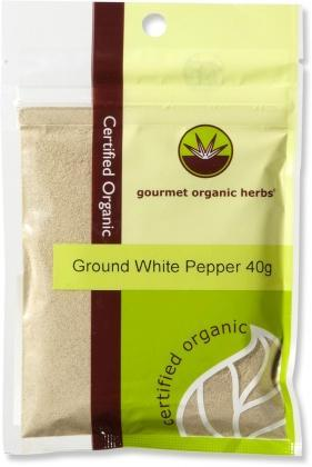 Gourmet Organic Pepper White Ground 40g Sachet x 1-Health Tree Australia