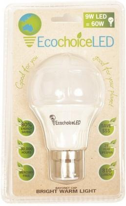 EcochoiceLED 9W Bayonet Cap Globe Bright Warm Light-Health Tree Australia
