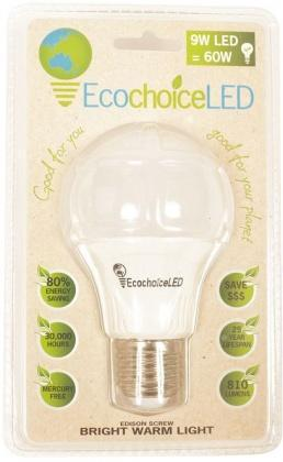 EcochoiceLED 9W Edison Screw Globe Bright Warm Light-Health Tree Australia