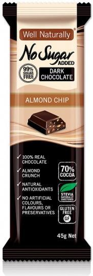 Well,naturally S/F Choc Bar Almond Chip 16x45gm-Health Tree Australia