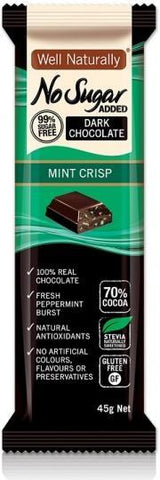 Well,naturally S/F Choc Bar Mint Crisp 16x45gm-Health Tree Australia
