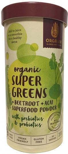 Orgamix Organic Super Greens + Beetroot+ Acai Powder G/F 200g-Health Tree Australia