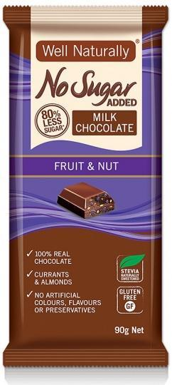 Well,naturally S/F Fruit & Nut Milk Chocolate Block 12x90g