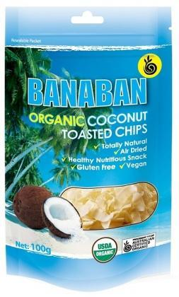 Banaban Organic Coconut Toasted Chips 100g-Health Tree Australia