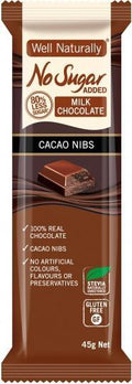 Well,naturally No Sugar Added Milk Chocolate Cacao Nibs Bars G/F 16x45g