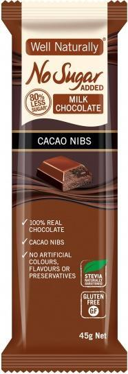 Well,naturally No Sugar Added Milk Chocolate Cacao Nibs Bars G/F 16x45g-Health Tree Australia