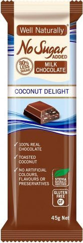 Well,naturally No Sugar Added Coconut Delight Bars G/F 16x45g-Health Tree Australia