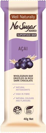 Well,naturally No Sugar Added Acai Superfood Bars 16x40g