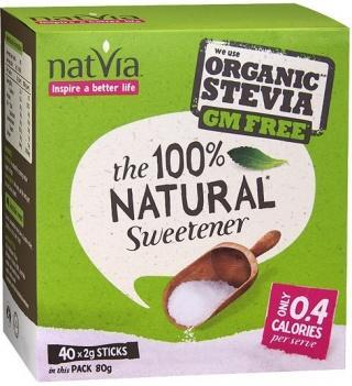 NatVia Sweetener 40 Stick Box 2g-Health Tree Australia