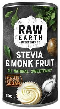 Raw Earth Sweetener Stevia & Monk Fruit All Natural Sweetener Canister 200g
