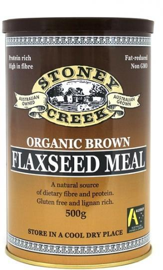 Stoney Creek Organic Brown Flaxseed Meal Can 500gm-Health Tree Australia