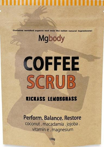 Mgbody Scrub Coffee+Magnesium+Coconut - Kickass Lemongrass 130g-Health Tree Australia