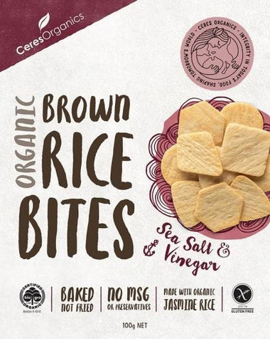 Ceres Organics Organic Brown Rice Bites Sea Salt & Vinegar G/F 100g Box