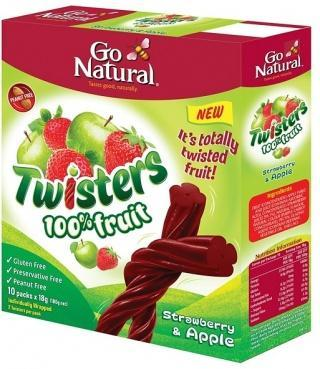 Go Natural Twisters Strawberry & Apple G/F 180g