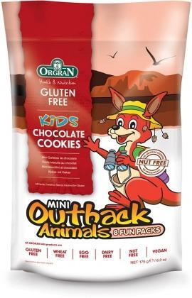 Orgran Kids Mini Outback Animals Chocolate Cookies 8 Fun Packs 175g-Health Tree Australia