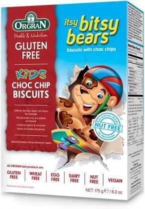 Orgran Kids Itsy Bitsy Bears Choc Chip Biscuits G/F 175g-Health Tree Australia