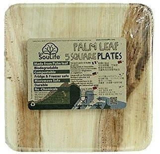 EcoSouLife Palm Leaf (L24 x H2cm) Large Square Plates Natural 5Pc Set