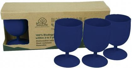 EcoSouLife Bamboo Eco Goblet Pack Sky Blue 4Pc-Health Tree Australia
