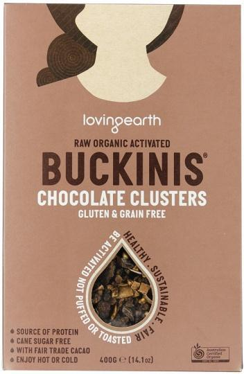 Loving Earth Raw Organic Buckinis - Chocolate Clusters G/F 400g-Health Tree Australia