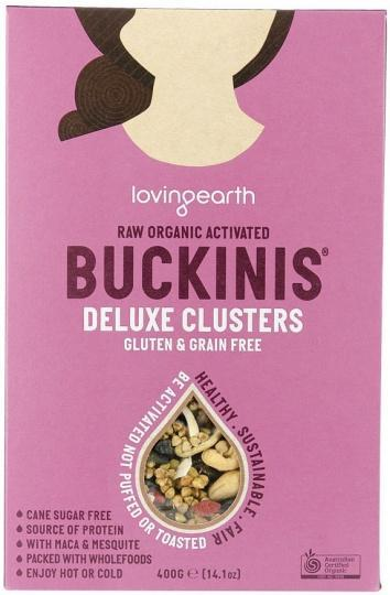 Loving Earth Raw Organic Buckinis - Deluxe Clusters G/F 400g-Health Tree Australia