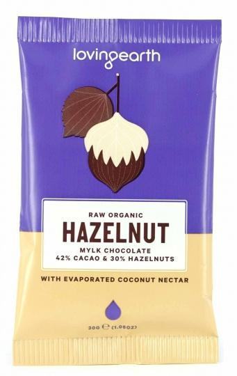Loving Earth Raw Organic Hazelnut Mylk Chocolate 16x30g-Health Tree Australia