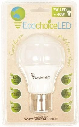 EcochoiceLED 7W Bayonet Cap Globe Soft Warm Light-Health Tree Australia