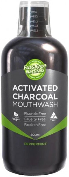 Essenzza Fuss Free Naturals Activated Charcoal Mouthwash Peppermint 500mL
